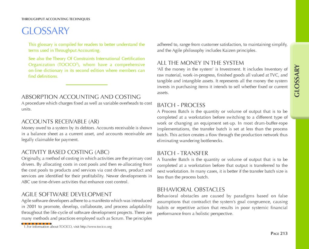 Throughput Accounting Techniques Glossary and Index - Glossary