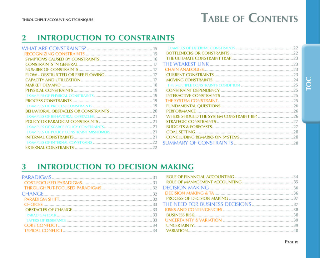 Throughput Accounting Techniques Table Of Contents 2